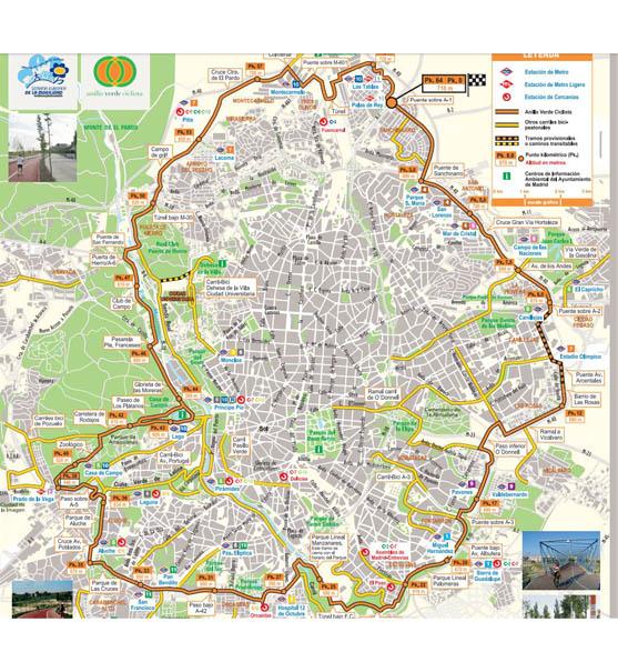 Mapa del anillo verde de Madrid